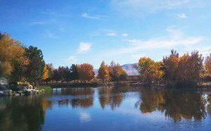 巨大圣迹在将建立的佛教城圣天湖上展示